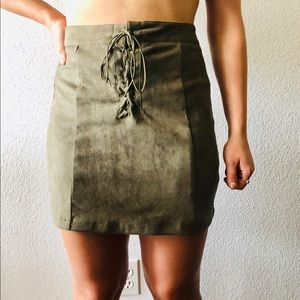 Army Green lace Up skirt